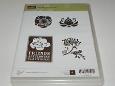 Stampin Up Friends Never Fade CLEAR Mount Stamp Set of 4 Flowers Never Fade