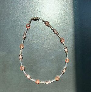 Women's Pink Glass Blown Beaded Anklet - Good Condition