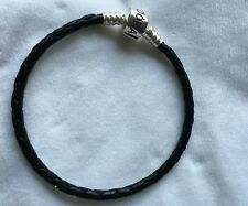 Pandora black leather bracelet 22cm long