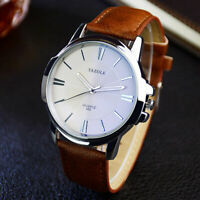 New Men Trendy Minimalist Thin  Watch Slim Leather Strap Stainless Steel Quartz