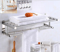 Modern Double Wall Mounted Bathroom Bath Towel Rail Holder Storage Rack UER