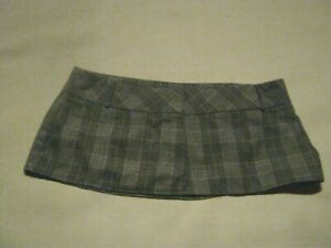 """8"""" Clingy Black & White Prince of Wales Check Micro Mini Skirt Size 12 14"""