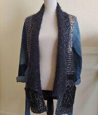 Desigual Denim & Knit Jacket Size S Denim Belt Pockets