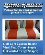 "Yamaha G14-G22 Golf Cart Deluxeâ""¢ Vinyl Seat Covers-Staple On(White/Orange Strps)"