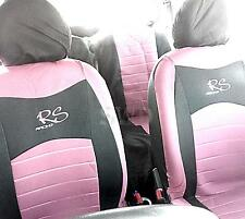 6pc Universal RS Racing PINK Car Seat Cover Set Custom Embroidered Logo Sports