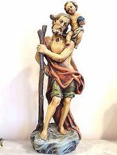 Catholic Vintage Lepi wood carved Holy Statue saint Christopher & Jesus Christ