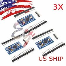 3X Arduino Pro Mini Board Free with Headers ATMEGA328P 16MHz 5V ATMEGA328