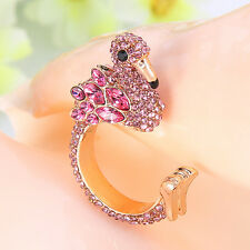 Flamingo Animal Bird Ring Pink Austrian Crystal Gold GP Unisex Size 7