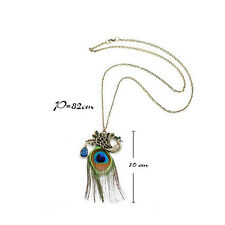 Ethical Crystal Rhinestone Peacock Feather Pendant Long Chain Creative Necklace