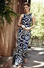 NEW Anthropologie Maeve navy ivory Stretchy Jersey Printed Knit Maxi Dress XS