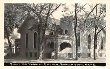 RPPC First Methodist Church Burlington, Kansas Vintage Postcard 1948