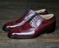 Handmade Men's Red Fashion Wing Tip Brogues Style Oxford Leather Shoes