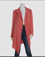 Anne Klein Open Front Drape Style Jacket Orange Size S
