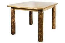 "Rustic Log Table, 45"" Square Dining Room Tables, Amish Made Furniture, 4 Post"