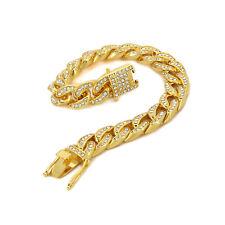 Men's Hip Hop Bracelet Gold PT Fully Cz BOX CLIP Iced Out Finish Miami Cuban