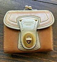 COACH Metallic Gold Bi-fold Lock Closure Wallet