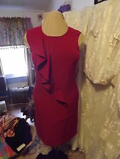 NEW 9&CO LITTLE RED DRESS RUFFLED SIZE 6 SMALL NWT RET$70 CRIMSON RED