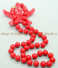 AA Genuine 8mm Natural Coral Red South Sea Shell Pearl Necklace 18""
