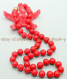 """AA Genuine 8mm Round Coral Red South Sea Shell Pearl Necklace 18"""""""
