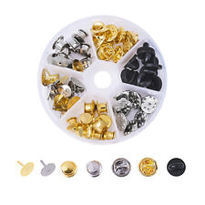 1 Box Brass Brooch Findings For DIY Brooch Making Mixed Color 8x2cm 60pcs/box
