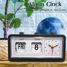 VINTAGE RETRO QUARTZ ALARM CLOCK FLIP DISPLAY WITH DAY DATE & TIME WHITE  !