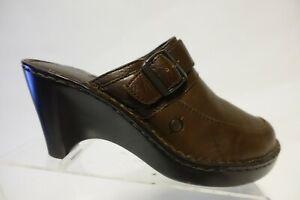 BORN Mule Leather Brown Sz 9 M Women Heel Clogs
