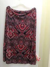 ROUGE women's Plus Size long spring/summer skirt. Burgundy Multicolor  New.4X