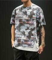 Japanese Style Mens Summer Short Sleeve Printed T-shirt Youth Loose Casual Tee