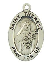 "Patron Saint St Therese 7/8"" Oval Sterling Silver Medal on Rhodium Plated Chain"