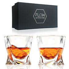 Twist Whiskey Glasses Set Of 2 Home Bar Gift Scotch, Bourbon G&T Tumblers BOXED