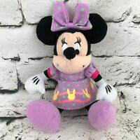 Disney Minnie Mouse Plush Doll Wearing Purple Easter Dress Stuffed Animal Toy