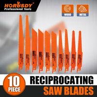 "10PC Reciprocating Saw Blades Set Electric Metal Wood Pruning Plastic 1/2"""