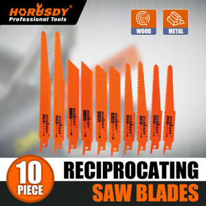 10PC Reciprocating Saw Blades Set Electric Metal Wood Pruning Plastic 1/2""