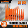 10PC Reciprocating Saw Blades Set Electric Sawzall Hackzall Metal Wood 1/2""