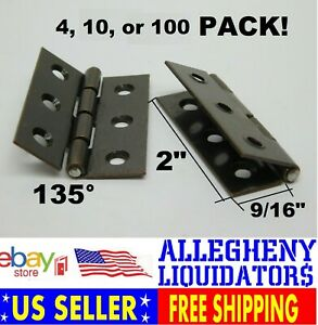 """4-10-100 135° Inside Stop 2"""" Hinge Bronze Bench Lid Jewelry Box Chest Cabinet HF"""