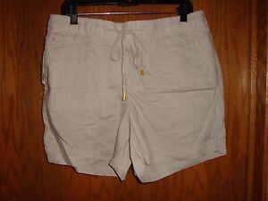 Ellen Tracey Womens Linen Sandstone Shorts Size:  L  NWT