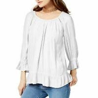 INC Womens Raglan Crepe Peasant White Top Blouse Size Large