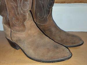 US Tony Lama Suede Western Cowboy Rodeo Pecos Boots EU 42 US 9D