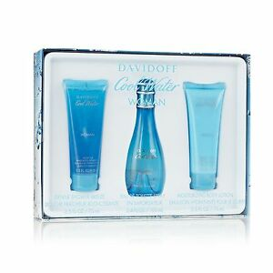 Davidoff COOL WATER  3 Pc EDT GIFT SET Perfume for Women 3.4 + 2.5 + 2.5 NEW BOX