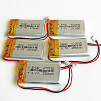5 x 3.7V 250mAh 402035 Polymer LiPo Battery JST 1.25mm For Mp3 Bluetooth GPS PSP