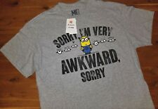 Mens Despicable Me Sorry I'm Very Awkward Gray Graphic T-Shirt New Medium Funny