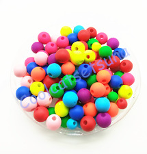 100Pcs 8mm Neon Matte Rubber Acrylic Mixed Color Spacer Loose Beads