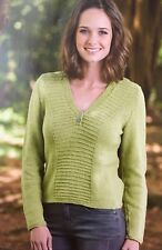 KNITTING PATTERN Ladies Textured Panel Jumper V Neck Sweater Long Sleeved Rowan