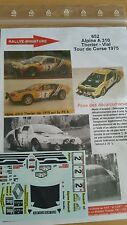 DECALS 1/18 REF 652 ALPINE RENAULT A310 THERIER TOUR DE CORSE 1975 RALLYE RALLY