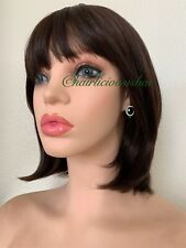 dark brown bob wig Color 4 Full Fringe With Bangs Synthetic Heat Resistance Ok