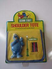 Vintage 1985 Sesame Street Cookie Monster Tote w colored pencils MOC