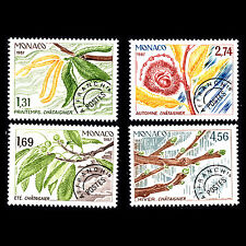 Monaco 1987 - Four Seasons of the Sweet Chestnut Tree Flora - Sc 1580/3 MNH