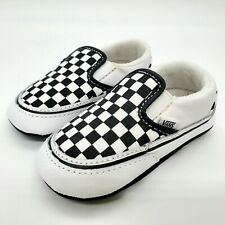 Vans Off The Wall Toddler Checkered Black & White Slip On Crib Shoes - Sz 4
