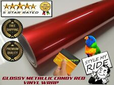 1M x 1.5M Gloss Metallic Candy Apple Red Vinyl Wrap w/Air Release Bubble Free