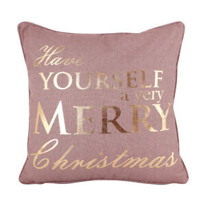 Purple Christmas Cotton Fabric Filled Square Scatter Cushion with Gold Print